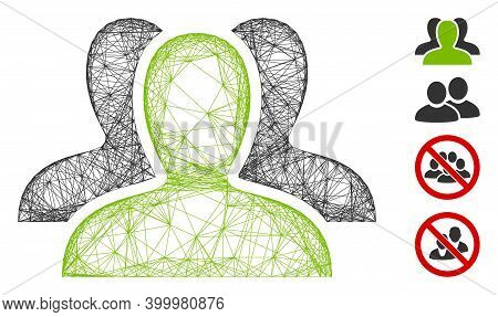 Vector Wire Frame Client Group. Geometric Wire Frame Flat Network Based On Client Group Icon, Design