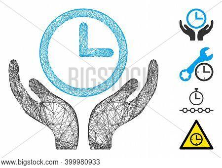 Vector Wire Frame Clock Maintenance. Geometric Wire Carcass Flat Network Based On Clock Maintenance