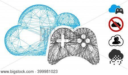 Vector Wire Frame Cloud Game Controller. Geometric Wire Frame Flat Network Made From Cloud Game Cont