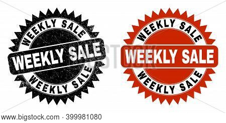 Black Rosette Weekly Sale Seal Stamp. Flat Vector Textured Seal Stamp With Weekly Sale Caption Insid