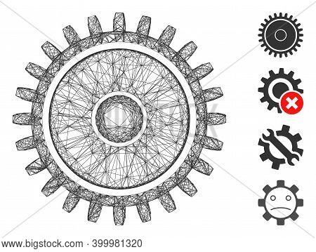 Vector Net Cogwheel. Geometric Hatched Carcass 2d Net Made From Cogwheel Icon, Designed From Crossin