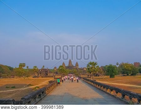 Angkor Wat, Cambodia - February 17, 2011: The People Going From Angkor Wat Temple, Siem Reap, Cambod
