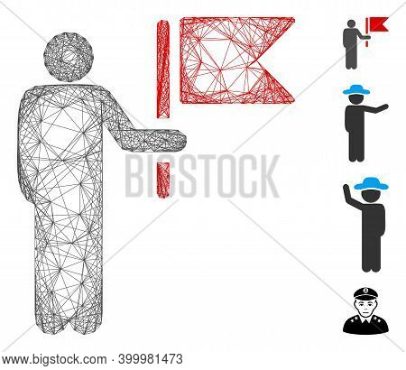 Vector Wire Frame Commander With Flag. Geometric Wire Frame Flat Net Generated With Commander With F