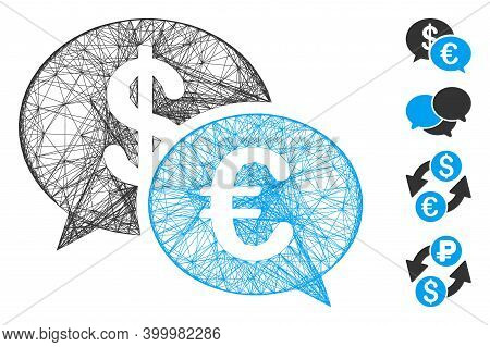 Vector Net Currency Transaction Messages. Geometric Wire Frame 2d Net Generated With Currency Transa