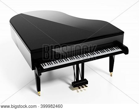 Generic Grand Piano With Reflection Top View. 3d Illustration.