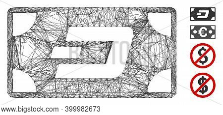 Vector Net Dash Banknote. Geometric Linear Frame Flat Net Made From Dash Banknote Icon, Designed Fro