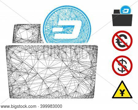 Vector Net Dash Folder. Geometric Wire Carcass Flat Net Made From Dash Folder Icon, Designed From Cr