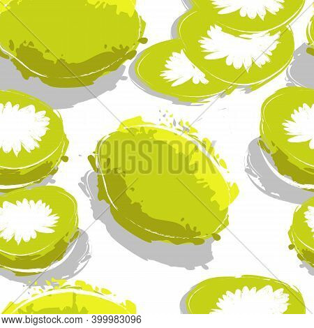 Seamless Pattern With Kiwi Fruits Isolated On White. Vector Modern Stock Illustration Of The Exotic
