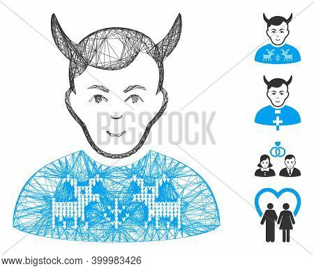 Vector Net Deers Pullover Horned Husband. Geometric Wire Frame Flat Net Generated With Deers Pullove