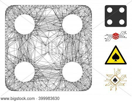 Vector Wire Frame Dice. Geometric Wire Frame Flat Net Made From Dice Icon, Designed From Crossing Li