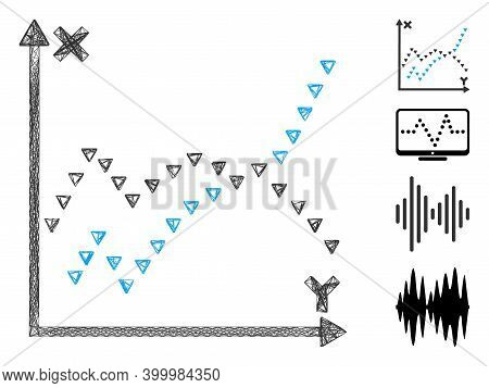 Vector Wire Frame Dotted Functions Plot. Geometric Linear Frame Flat Net Made From Dotted Functions