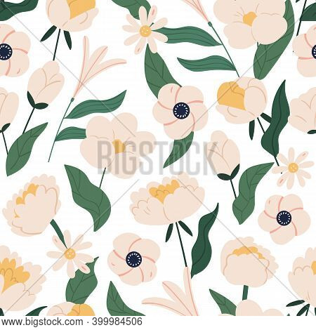 Elegant Floral Seamless Pattern With Peonies, Daisy And Anemone. Beautiful Botanical Spring Backgrou