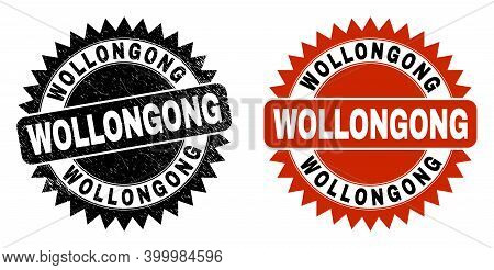 Black Rosette Wollongong Stamp. Flat Vector Scratched Watermark With Wollongong Message Inside Sharp