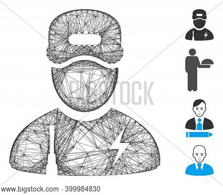 Vector Wire Frame Electrician Boy. Geometric Wire Frame 2d Net Made From Electrician Boy Icon, Desig
