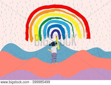 Child Draws A Rainbow. Cute Little Girl With Pencil Drawings A Rainbow On The Sky. Symbol Of Hope. F