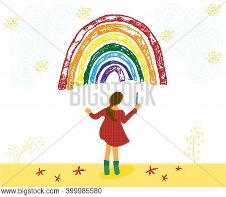 Adoralbe Little Toddler Girl Is Drawing Rainbow. Kid Painting Rainbow. Hand Drawn Vector Cartoon Ill