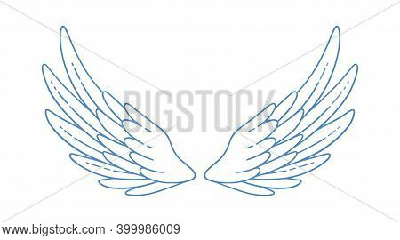 Beautiful Wide Open Angel Or Bird Wings Vector Monochrome Illustration. Gorgeous Feather Attribute O