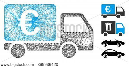 Vector Net Euro Collector Car. Geometric Hatched Frame 2d Net Generated With Euro Collector Car Icon