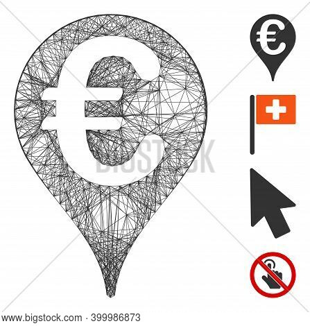 Vector Wire Frame Euro Map Pointer. Geometric Wire Carcass 2d Net Generated With Euro Map Pointer Ic