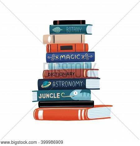 Huge Vertical Stack Of Academic And Entertainment Books With Colorful Covers Vector Flat Cartoon Ill