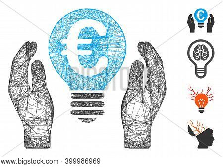 Vector Wire Frame Euro Patent Care. Geometric Wire Frame 2d Net Based On Euro Patent Care Icon, Desi