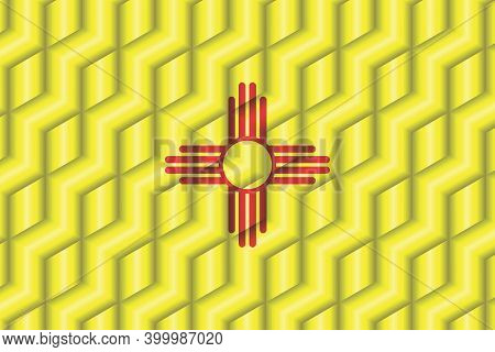 New Mexico Flag From Many Cubes - Illustration,  Three Dimensional Flag Of New Mexico
