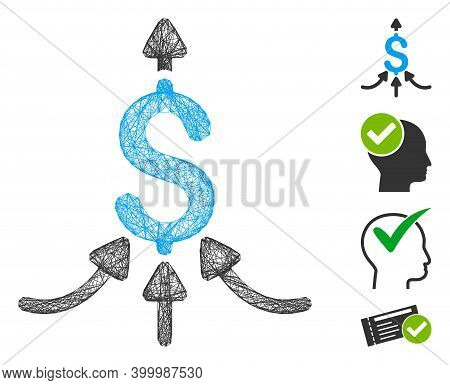Vector Wire Frame Financial Aggregator. Geometric Wire Carcass Flat Network Generated With Financial