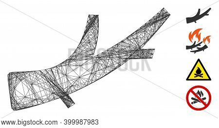 Vector Network Firewood. Geometric Linear Carcass Flat Network Generated With Firewood Icon, Designe