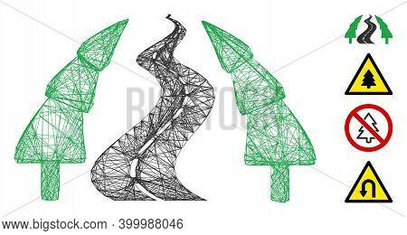 Vector Wire Frame Fir-tree Alley Road. Geometric Wire Frame 2d Net Generated With Fir-tree Alley Roa