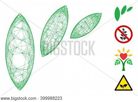 Vector Net Flora Leaf Abstraction. Geometric Hatched Frame Flat Net Generated With Flora Leaf Abstra