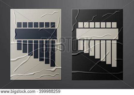 White Pan Flute Icon Isolated On Crumpled Paper Background. Traditional Peruvian Musical Instrument.