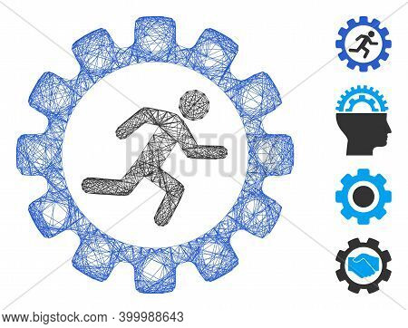 Vector Net Gear Rat Race. Geometric Wire Carcass 2d Net Generated With Gear Rat Race Icon, Designed