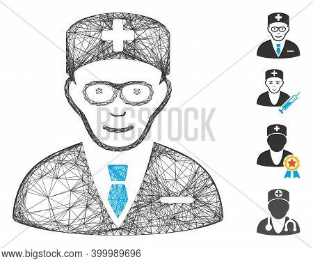 Vector Network Head Physician. Geometric Wire Frame Flat Network Made From Head Physician Icon, Desi