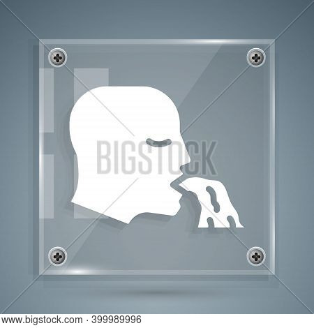 White Vomiting Man Icon Isolated On Grey Background. Symptom Of Disease, Problem With Health. Nausea