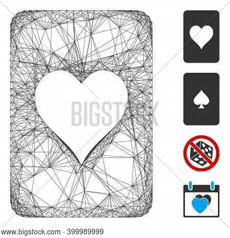 Vector Wire Frame Hearts Gambling Card. Geometric Wire Carcass Flat Net Made From Hearts Gambling Ca