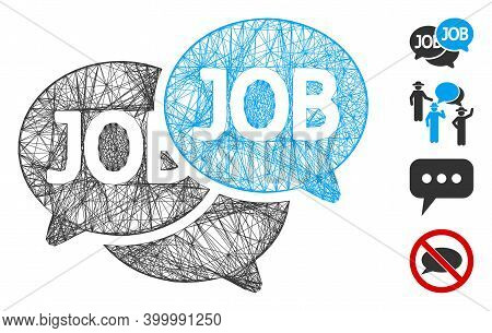 Vector Network Labor Market. Geometric Hatched Frame Flat Network Made From Labor Market Icon, Desig
