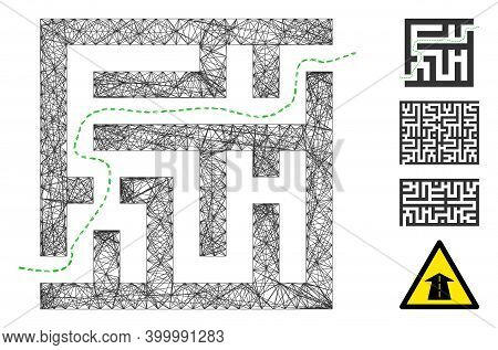 Vector Wire Frame Labyrinth Route. Geometric Wire Carcass 2d Network Generated With Labyrinth Route