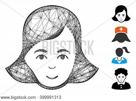 Vector Wire Frame Lady Face. Geometric Wire Carcass Flat Net Generated With Lady Face Icon, Designed