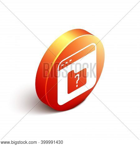 Isometric File Missing Icon Isolated On White Background. Orange Circle Button. Vector