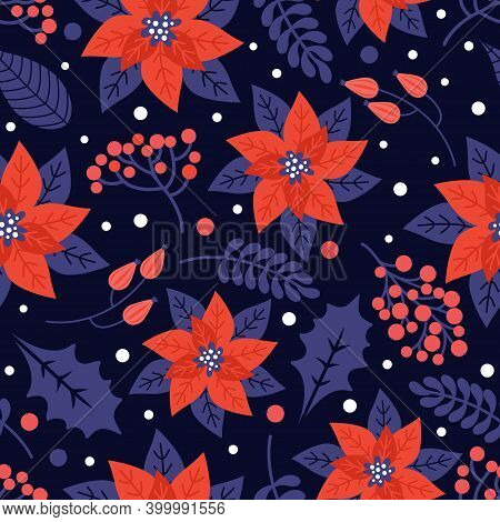 Merry Christmas And Happy New Year Seamless Pattern. Floral Holiday Background With Christmas Natura