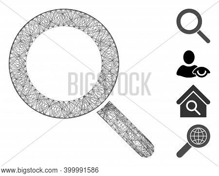 Vector Network Locate. Geometric Wire Frame Flat Network Generated With Locate Icon, Designed With C