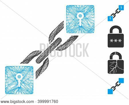 Vector Network Locker Blockchain. Geometric Linear Carcass 2d Network Generated With Locker Blockcha