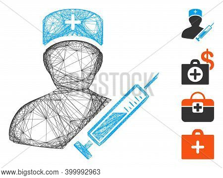 Vector Wire Frame Medic. Geometric Wire Frame Flat Network Made From Medic Icon, Designed With Cross