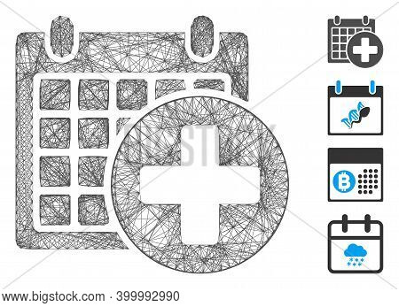Vector Net Medical Appointment. Geometric Linear Carcass 2d Net Based On Medical Appointment Icon, D