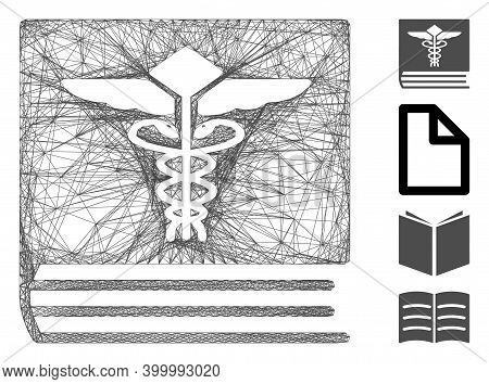 Vector Wire Frame Medical Book. Geometric Linear Frame 2d Network Generated With Medical Book Icon,