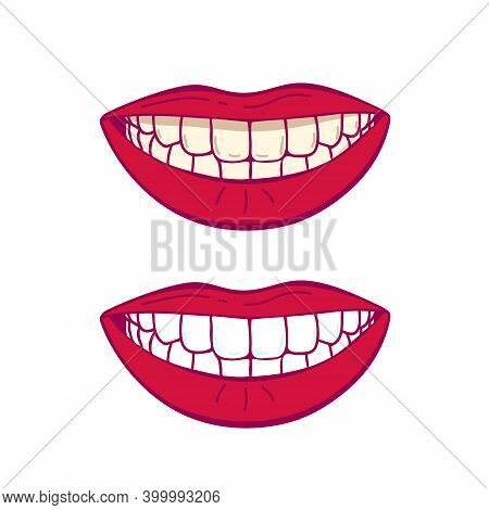 Before And After Teeth Whitening Isolated On White Background Vector Illustration