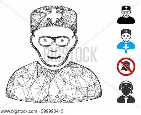 Vector Wire Frame Medical Specialist. Geometric Wire Frame Flat Network Generated With Medical Speci
