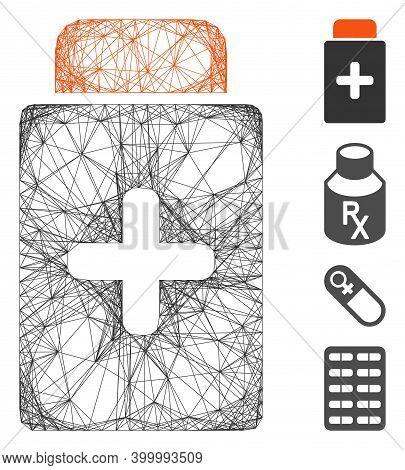 Vector Network Medication Bottle. Geometric Wire Frame 2d Network Made From Medication Bottle Icon,