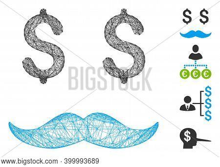 Vector Network Millionaire Mustache. Geometric Linear Carcass Flat Network Made From Millionaire Mus