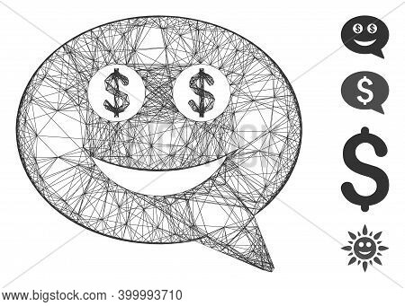 Vector Wire Frame Millionaire Smiley Message. Geometric Wire Frame 2d Network Generated With Million